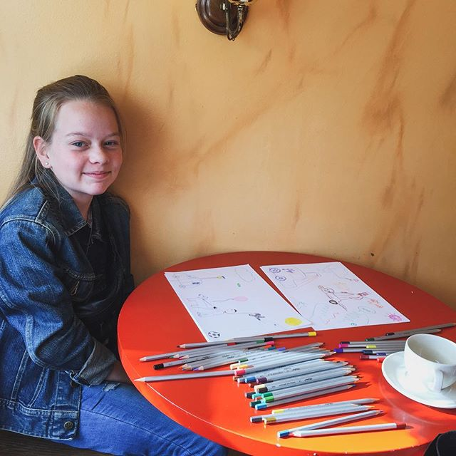 This fun creative girl @salka.kaldal was game to draw with me yesterday, show me some great places in the city and help prepare my upcoming exhibition ❤️