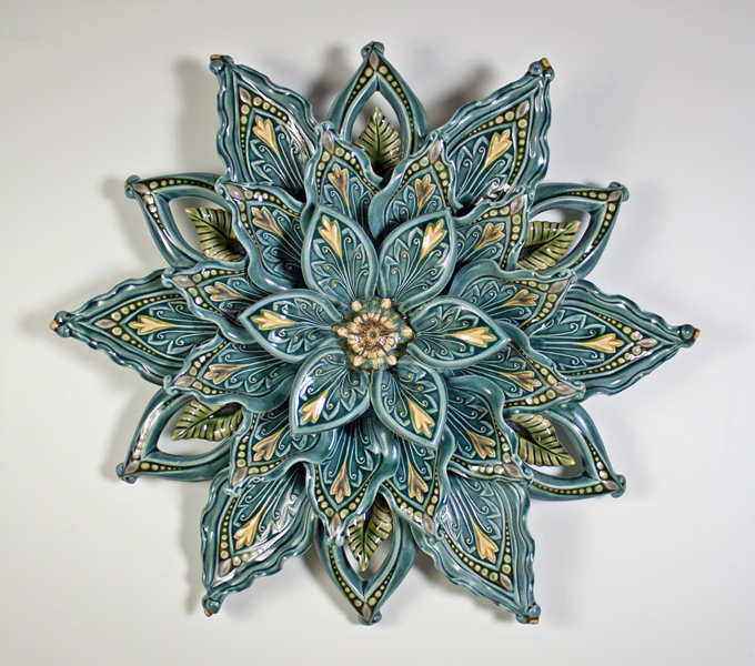 "21"" Denim Blue Porcelain Flower"