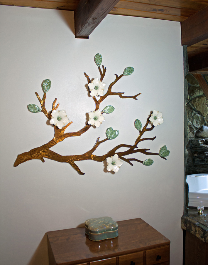 Signature Flowers in Cream with Brown Patinaed Steel Branch approx. 4ft wide x3ft tall