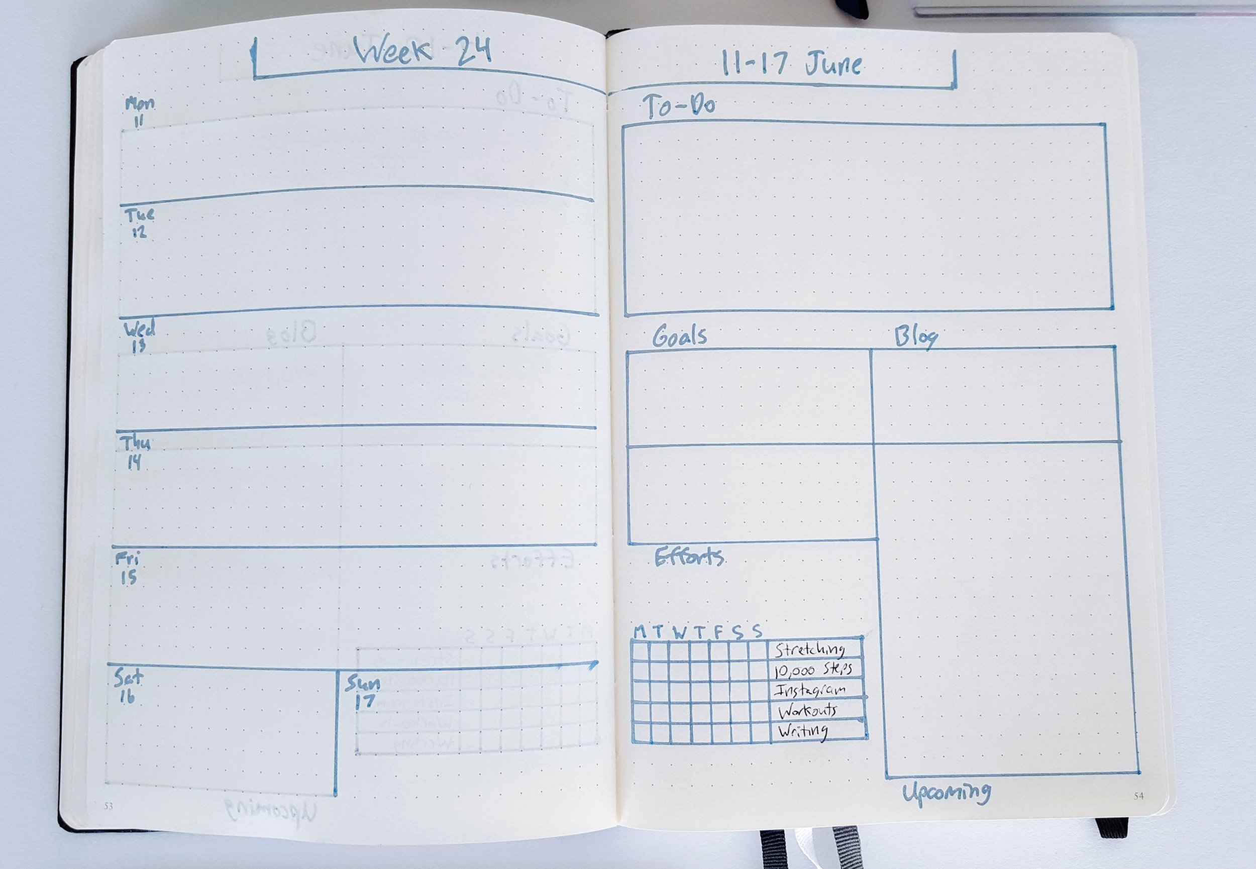 bullet journal layout