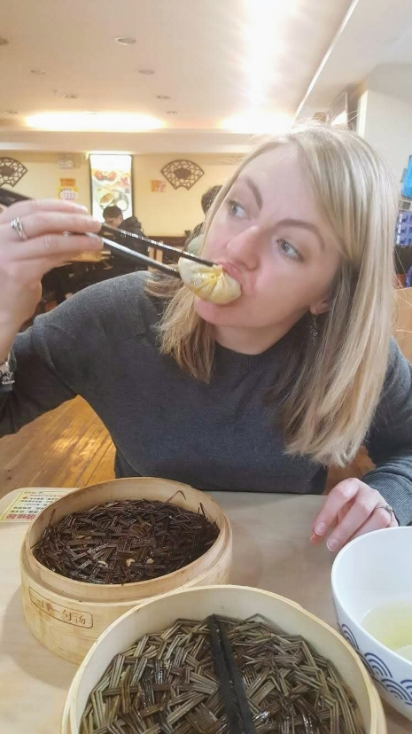 eating xiao long bao