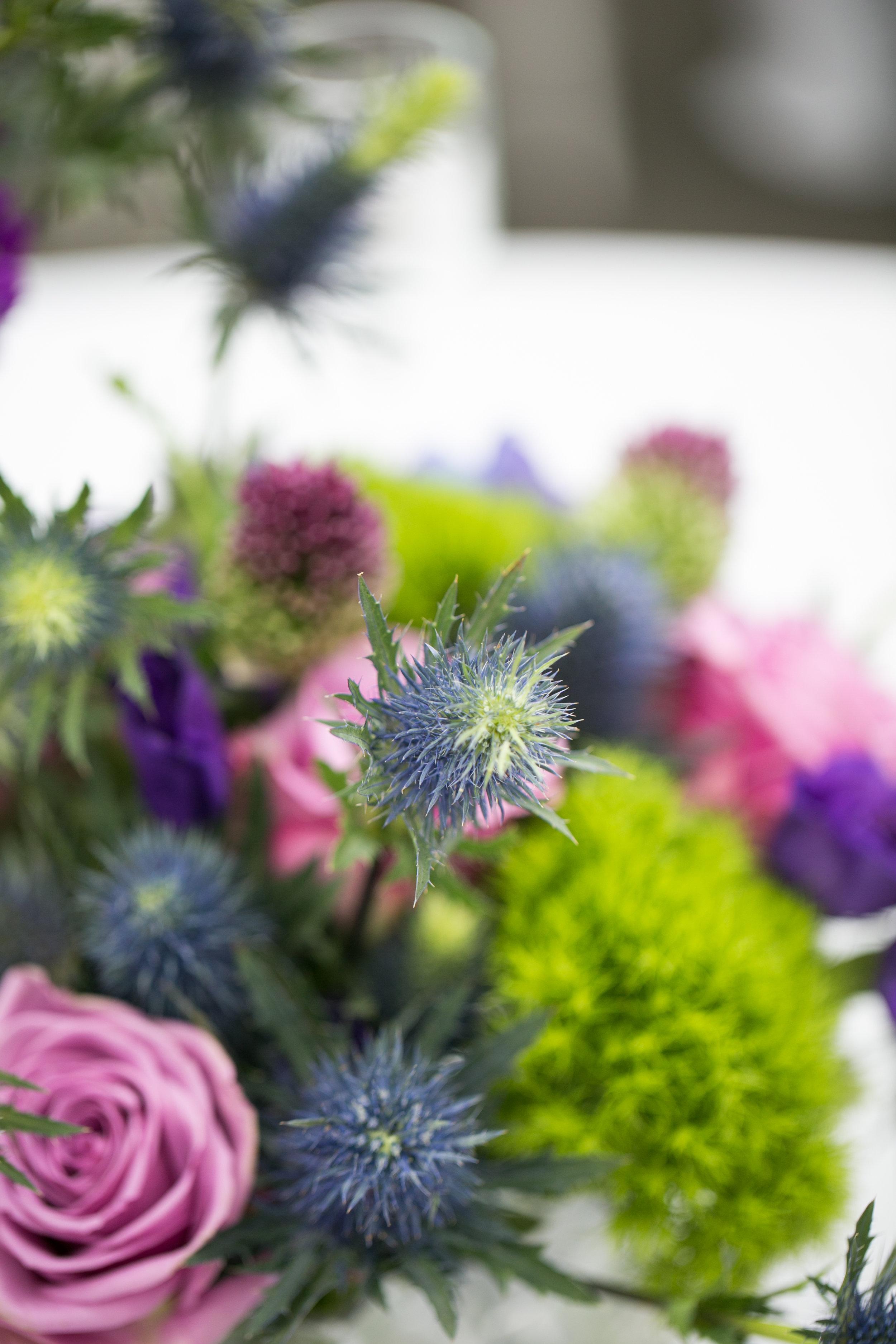 Blue thistle arrangement