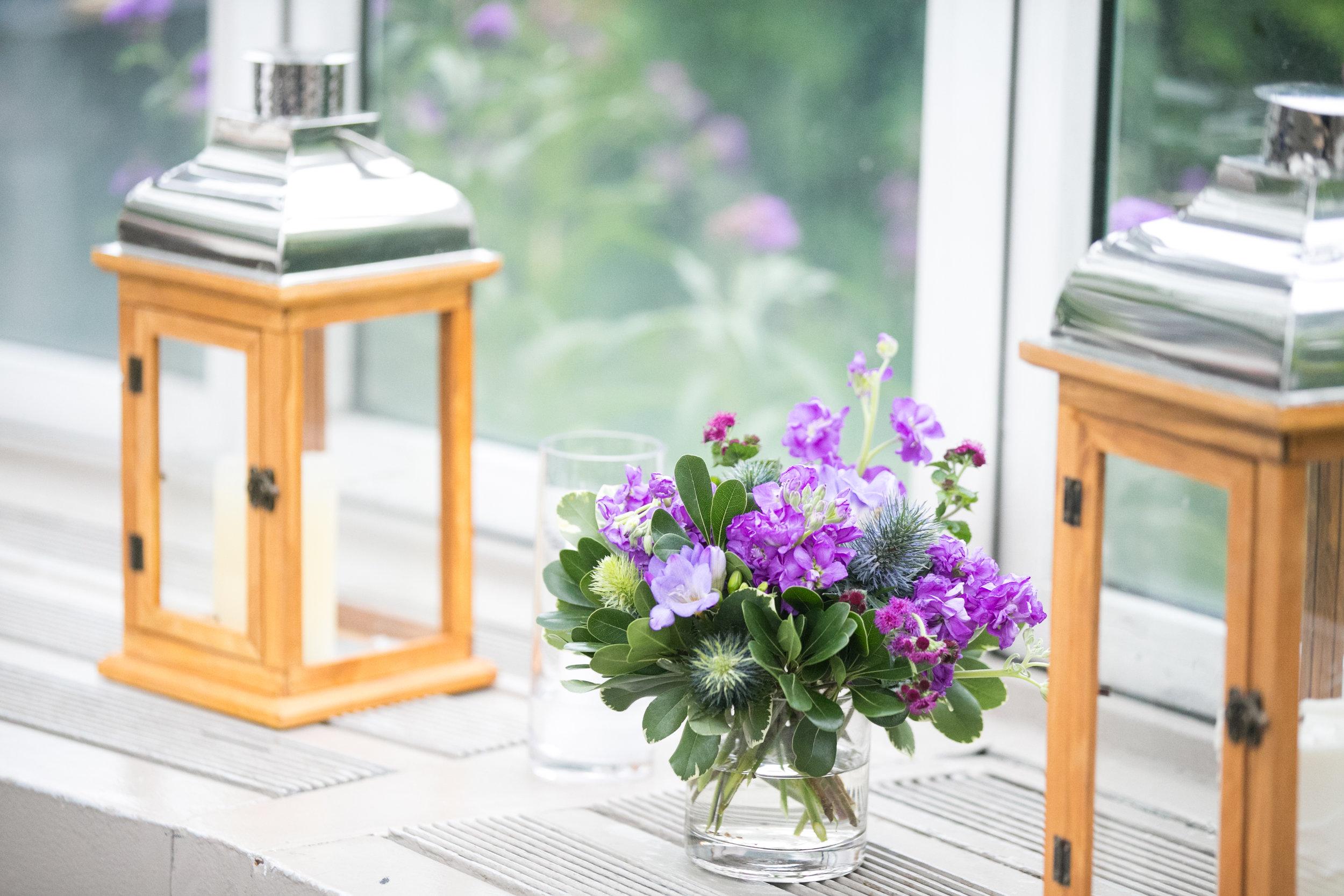Purple flowers and lanterns
