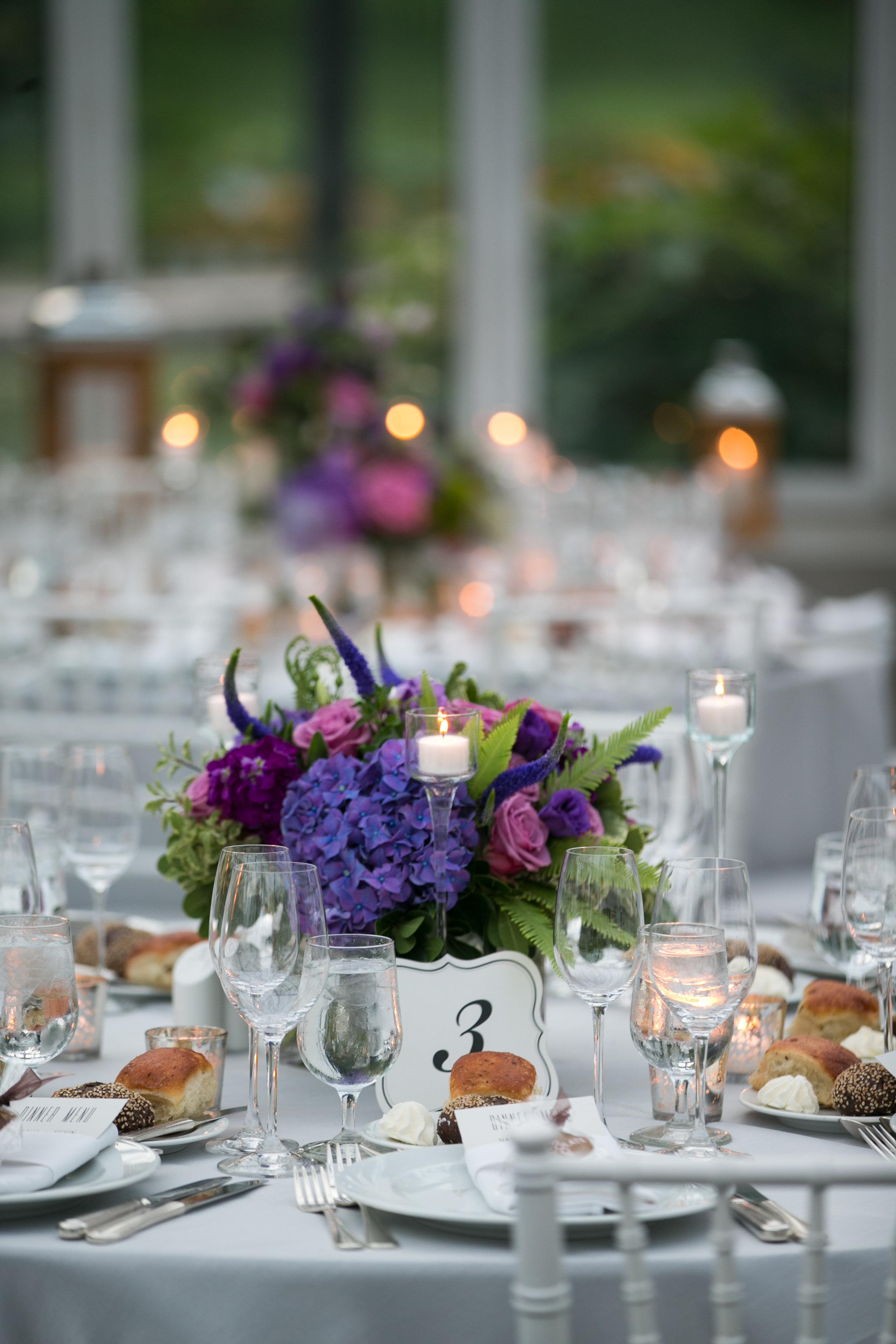 Purple hydrangea centerpiece