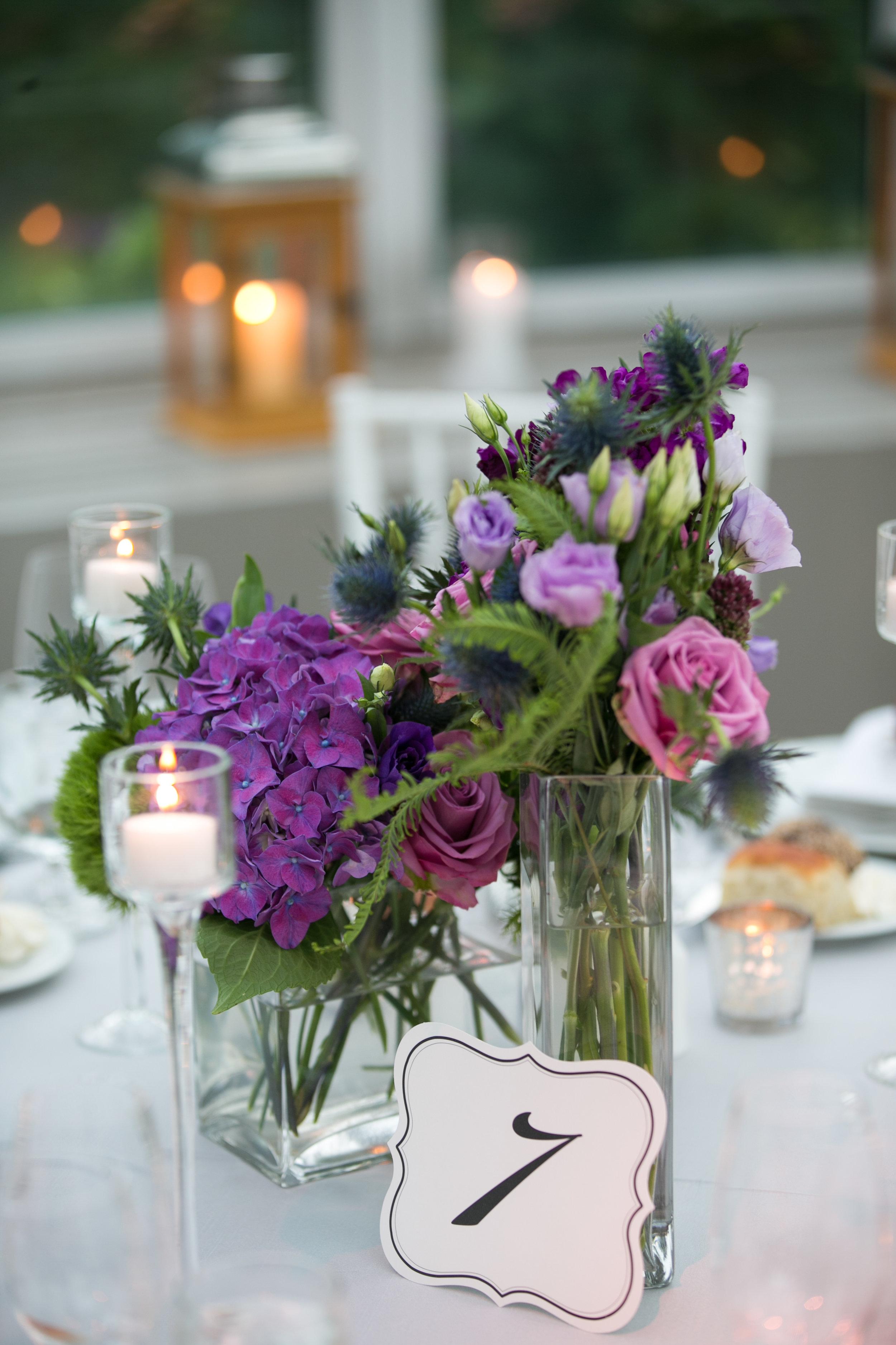 Purple hydrangea and lisianthus centerpiece