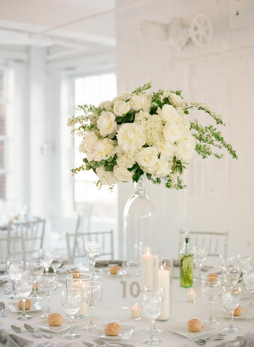 Tall white hydrangea centerpiece