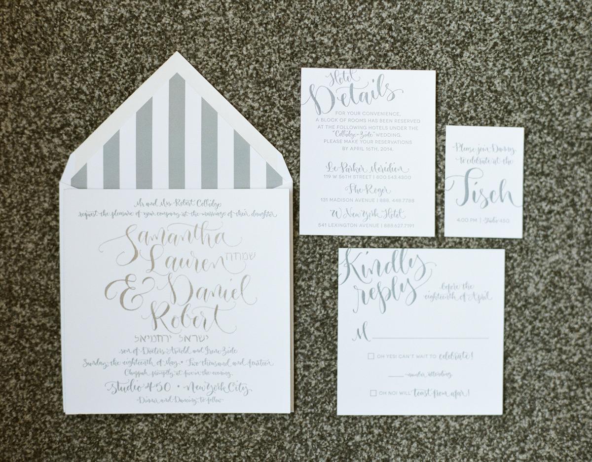 White and grey wedding invitation