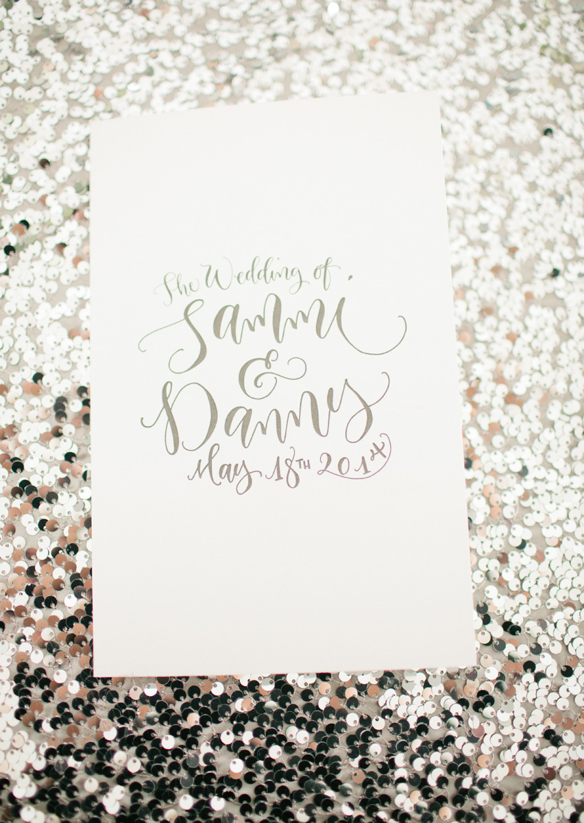 Silver sequin with white and grey wedding invitation