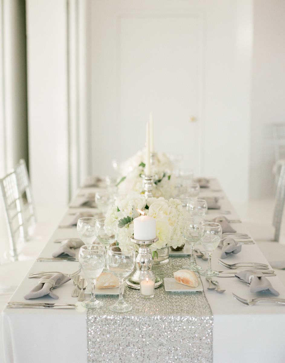 Silver sparkle table runner with white flowers