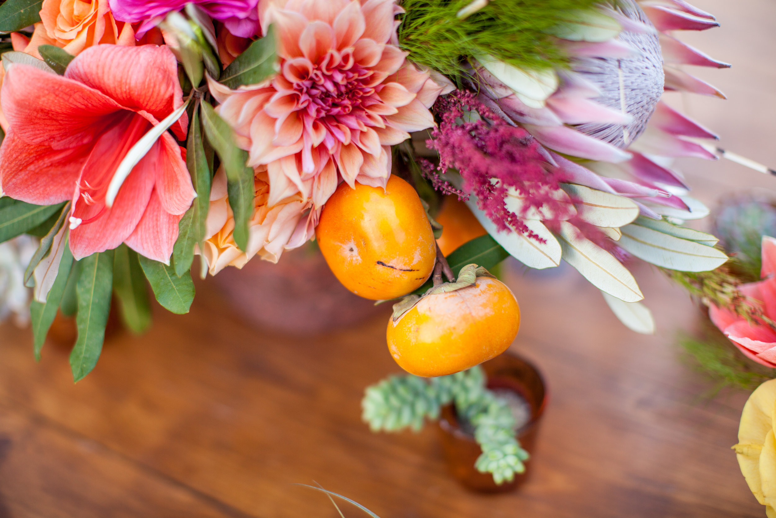 Persimmon and tropical arrangement