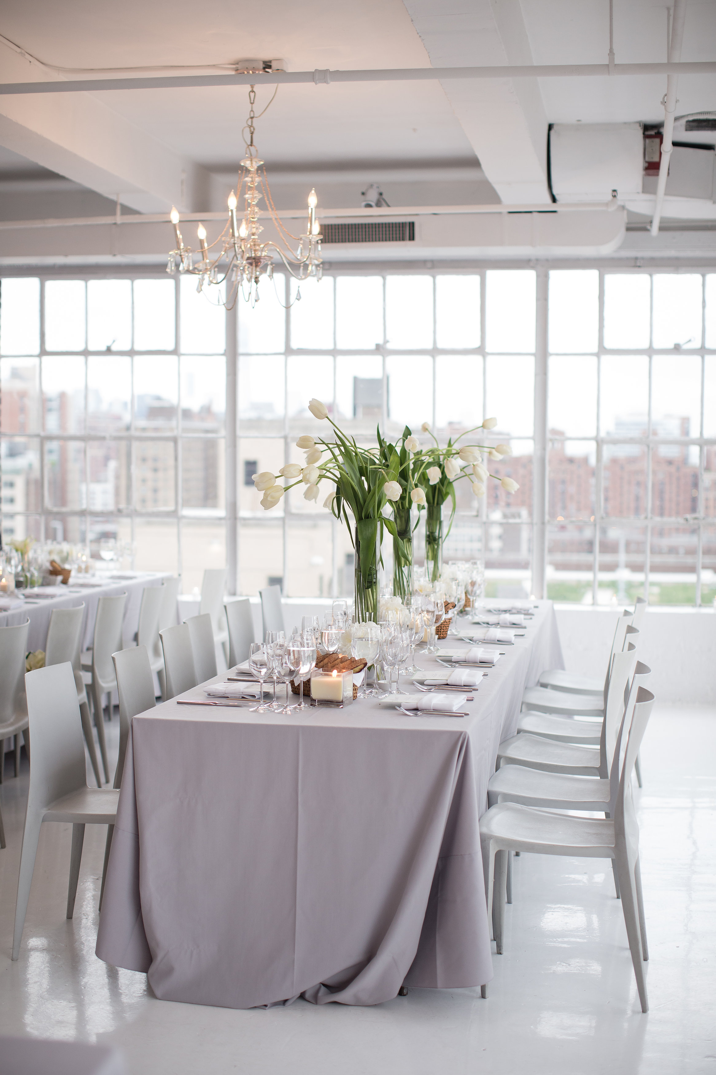 Modern white and gray wedding