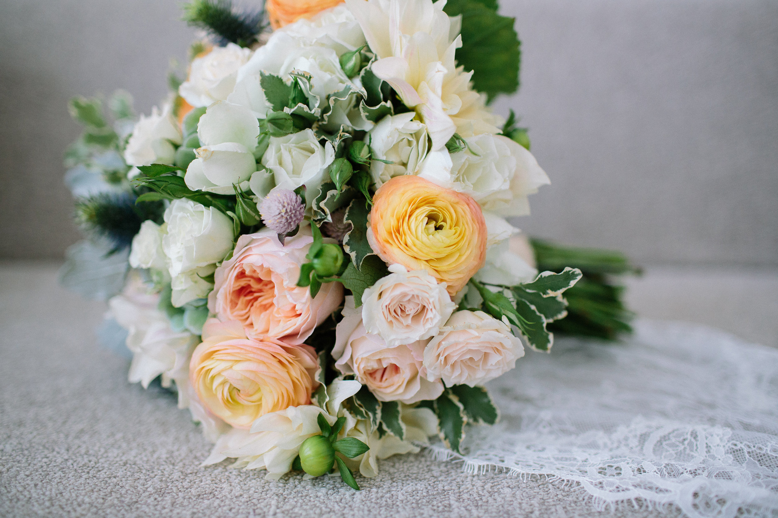 Juliet roses and ranunculus bouquet