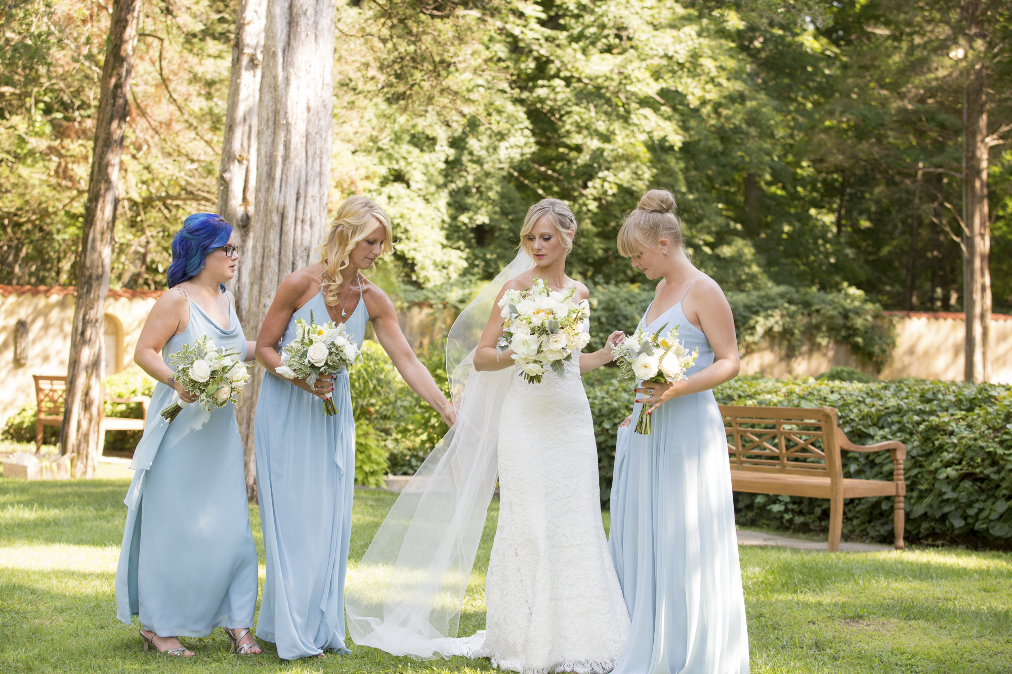 Caramoor bride and bridesmaids