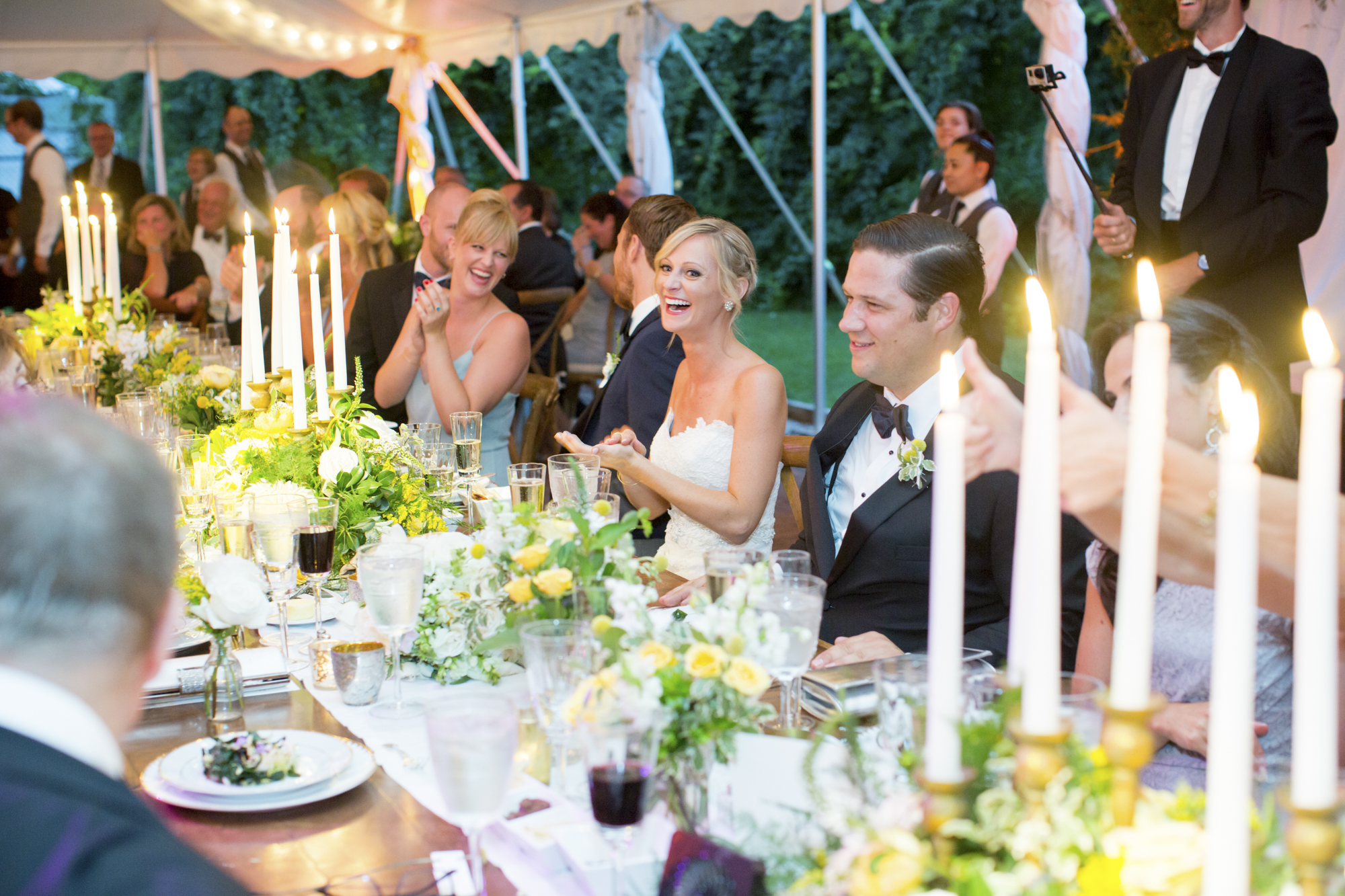 Long farm table with taper candles
