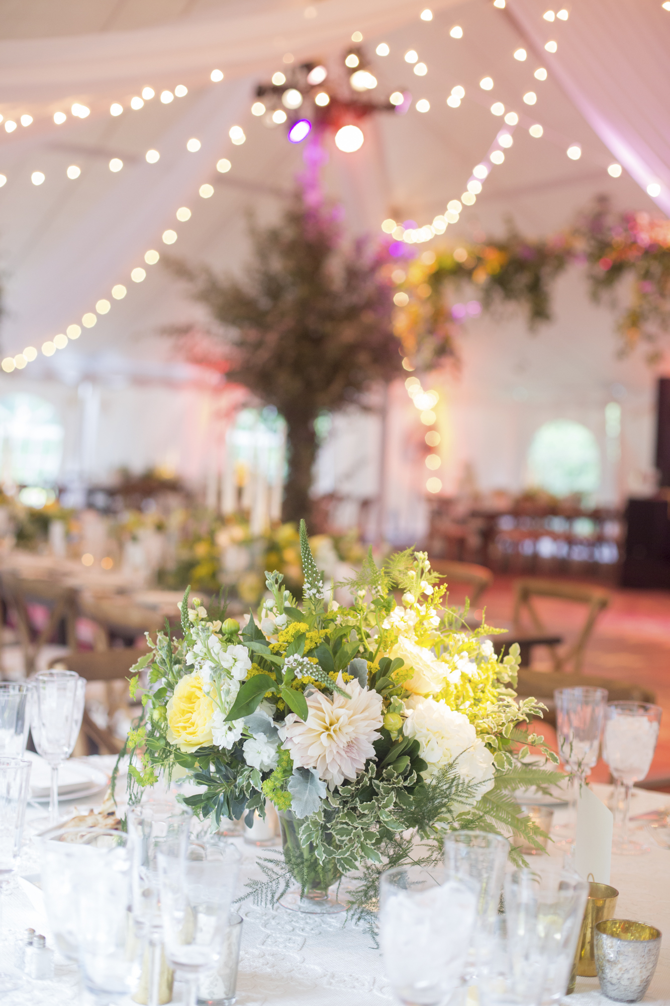 Ivory, yellow and green centerpiece