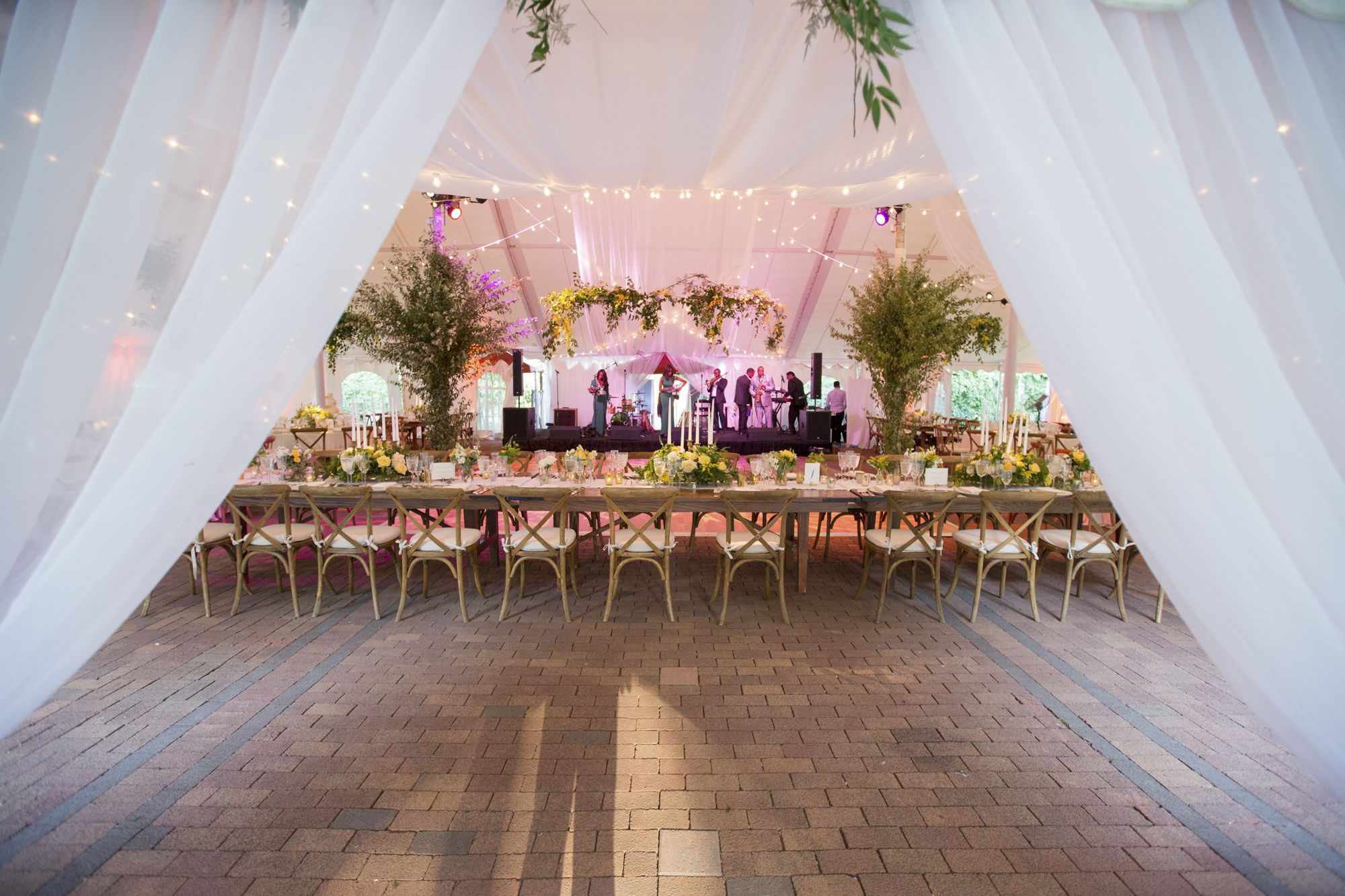 Draped fabric at tent entrance