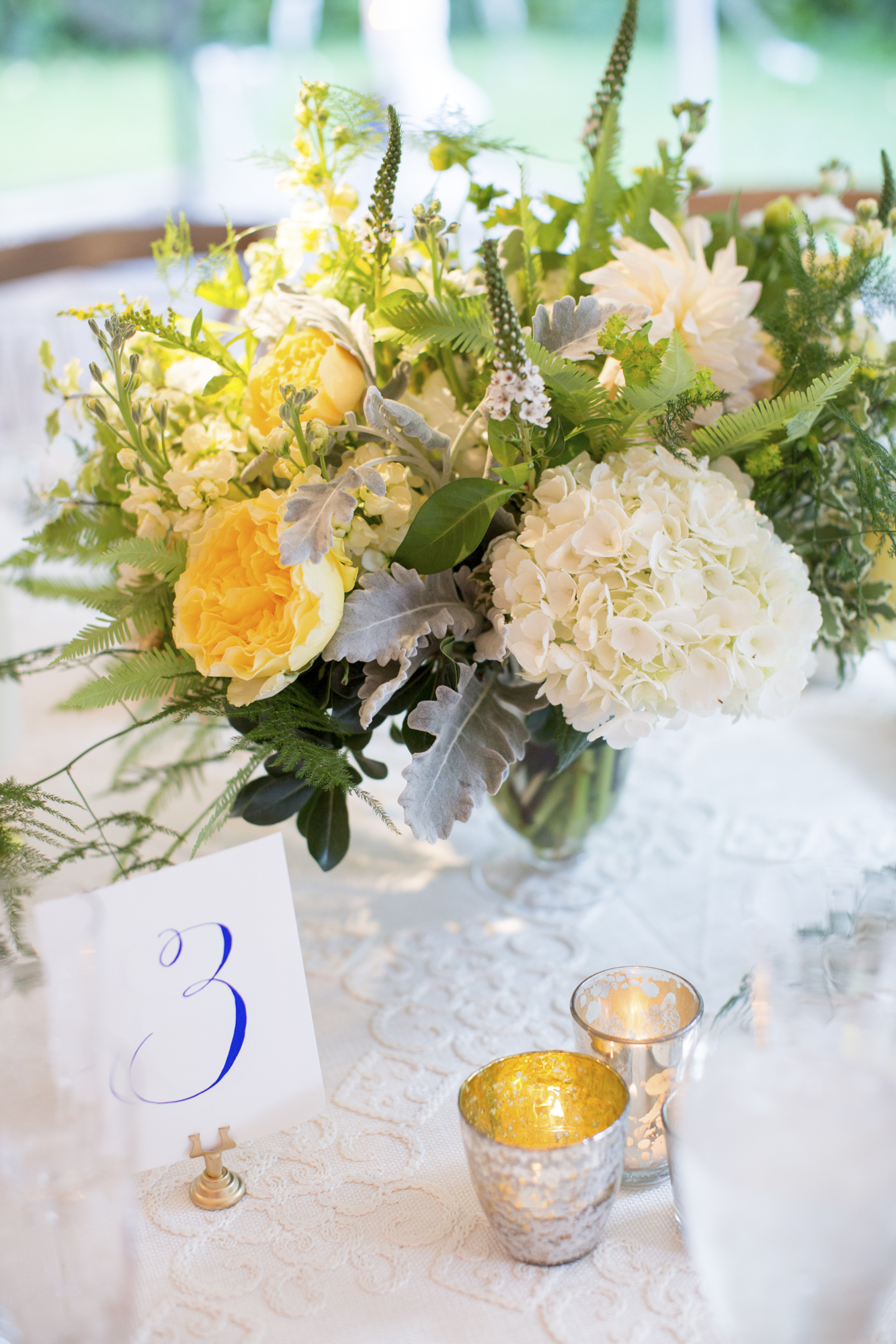White, yellow and green centerpiece