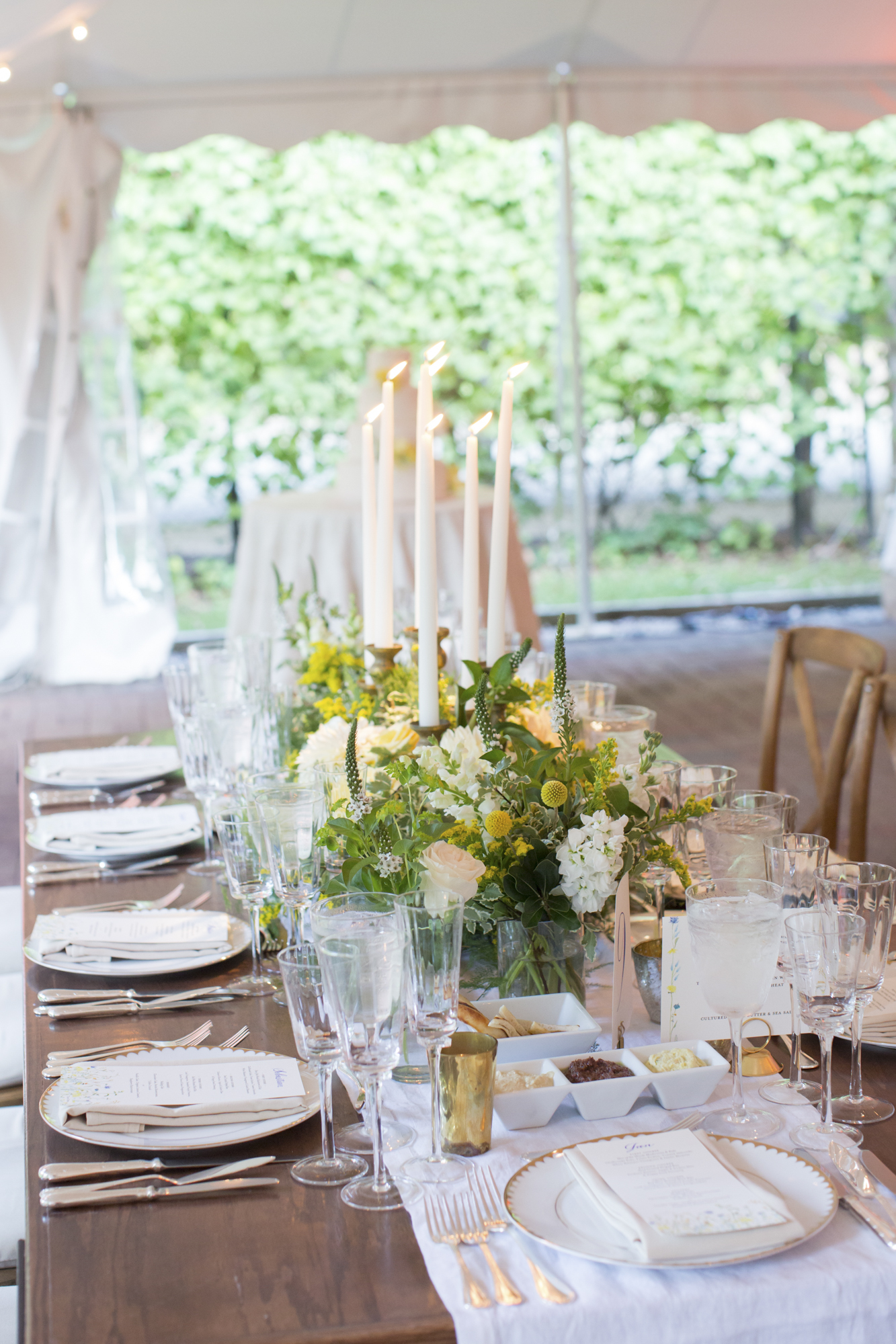 Farm table centerpiece and taper candles