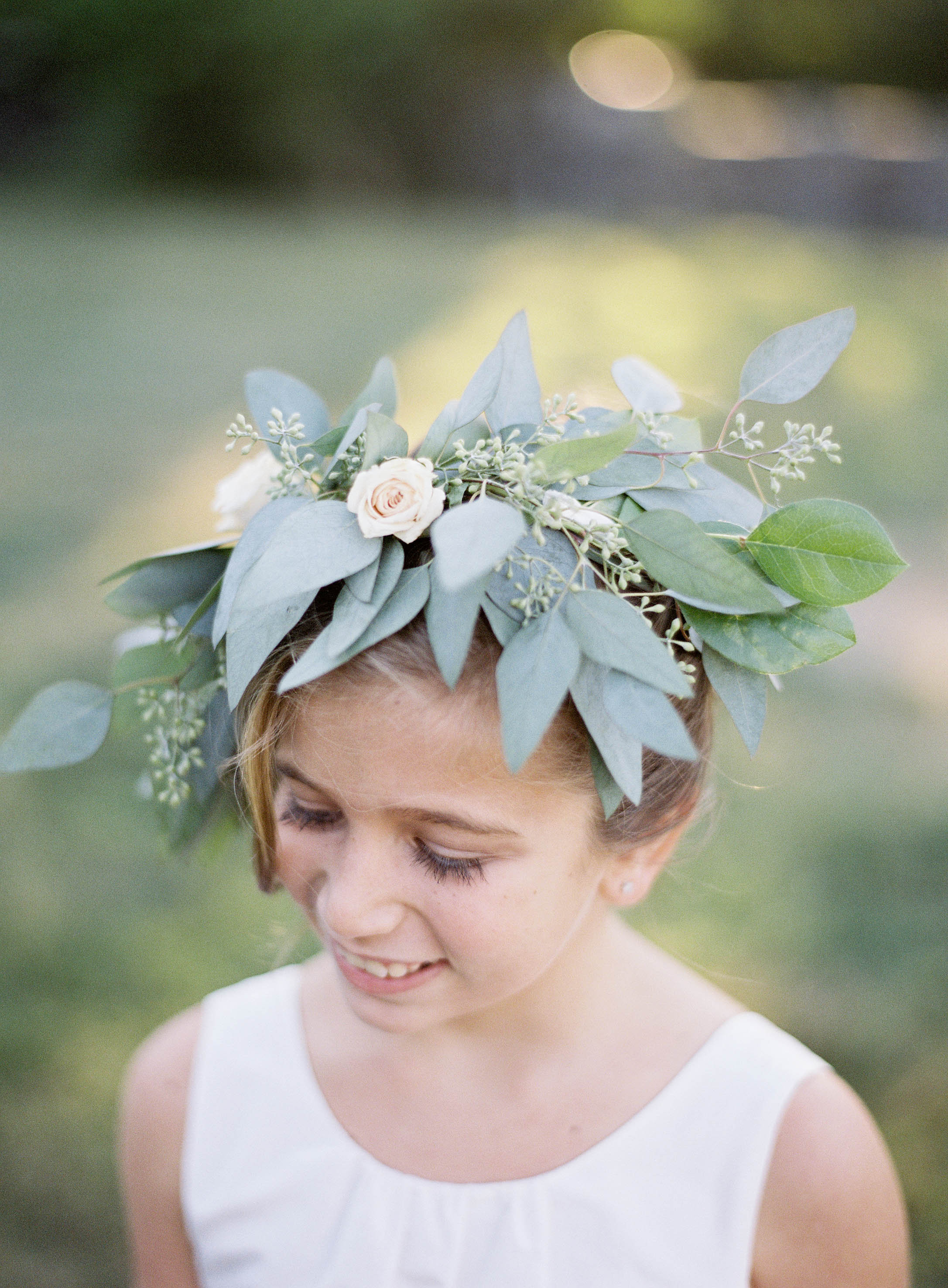 Eucalyptus flower girl crown