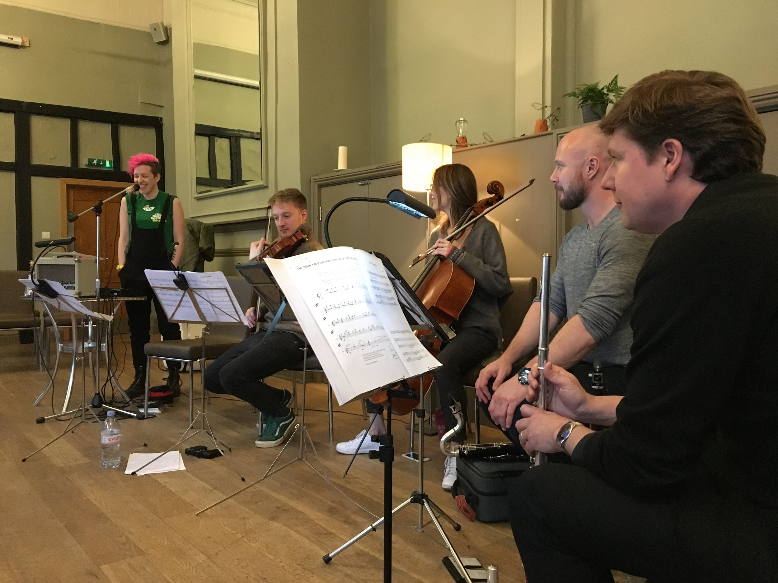 Kerry Andrew, Daniel Pioro, Clare O'Connell, Stuart King & Julian Sperry rehearsing Birdsong at the Kings Arms Berkhamsted