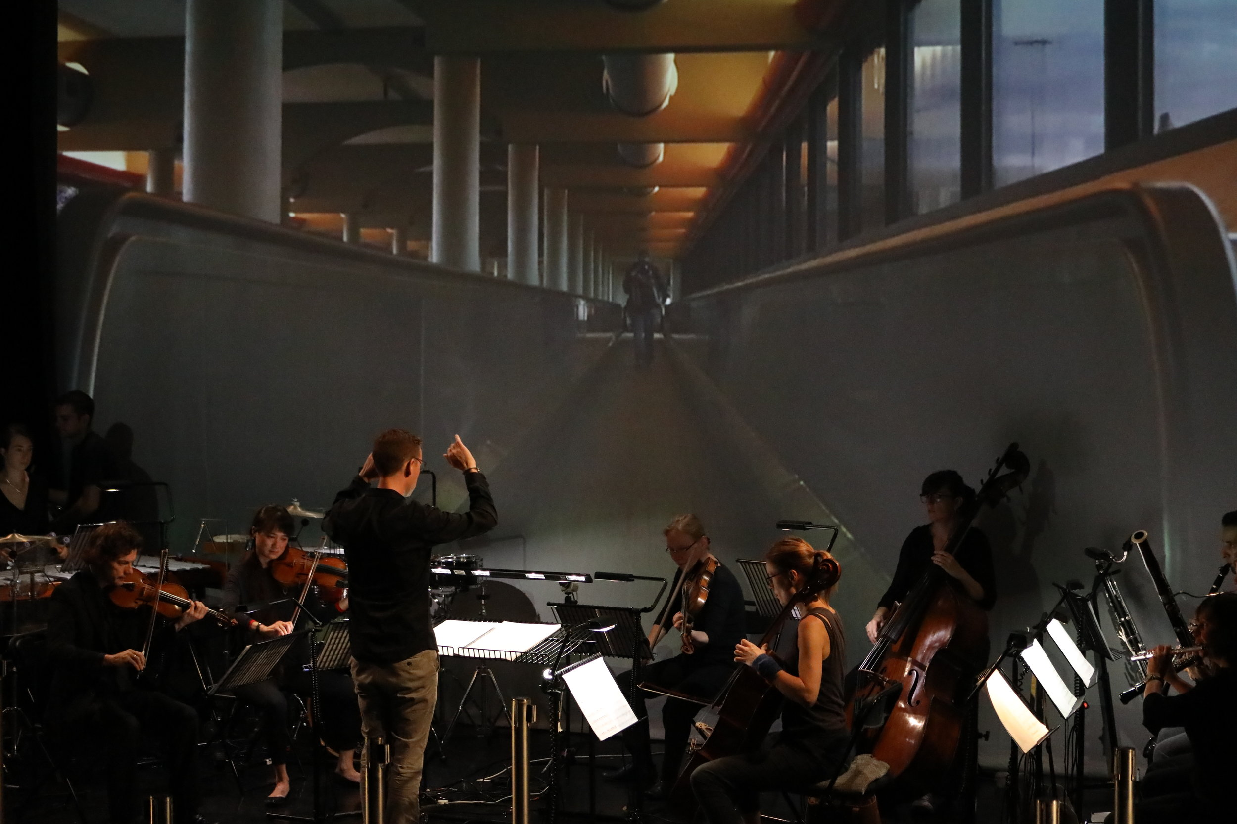 """CHROMA performing """"ID Please"""", Daniel Nesta Curtis conducting. The Place, London 25 July 2017. photo by Claire Shovelton"""