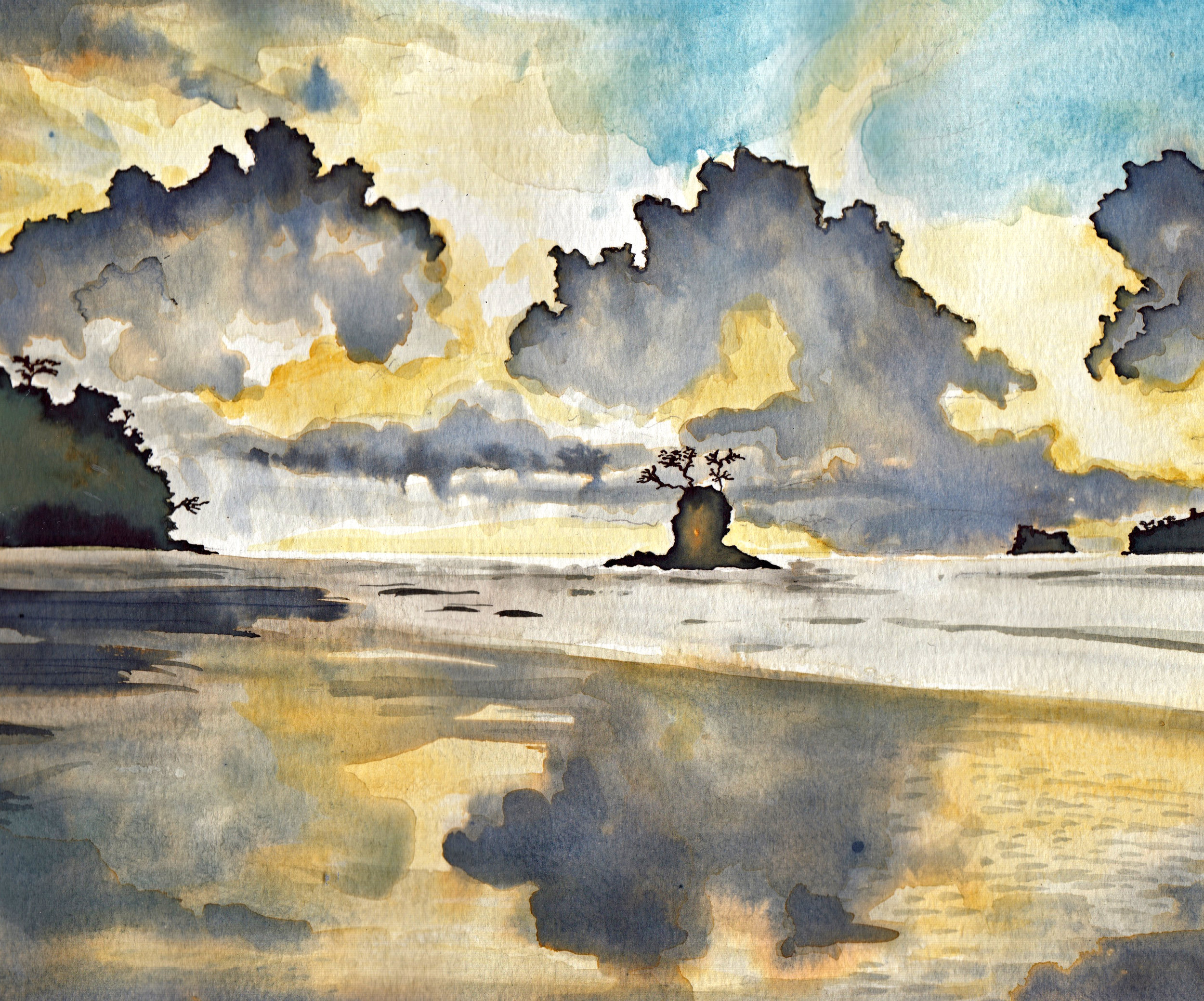 watercolour to illustrate FROM NIGHT by Clare O'Connell