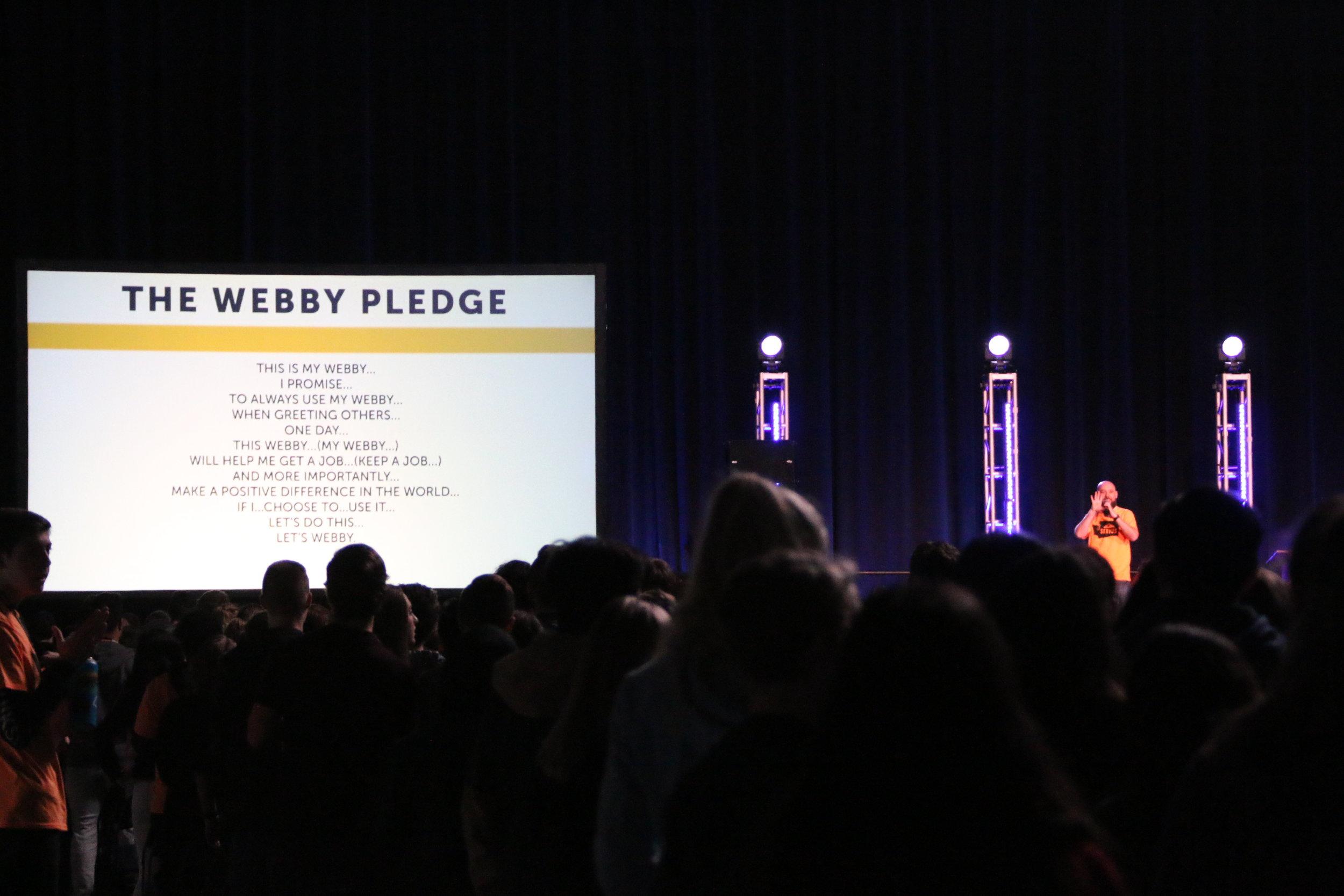 Sumner High School Leadership Teacher Bryan Slater Leading Students in The Webby Pledge