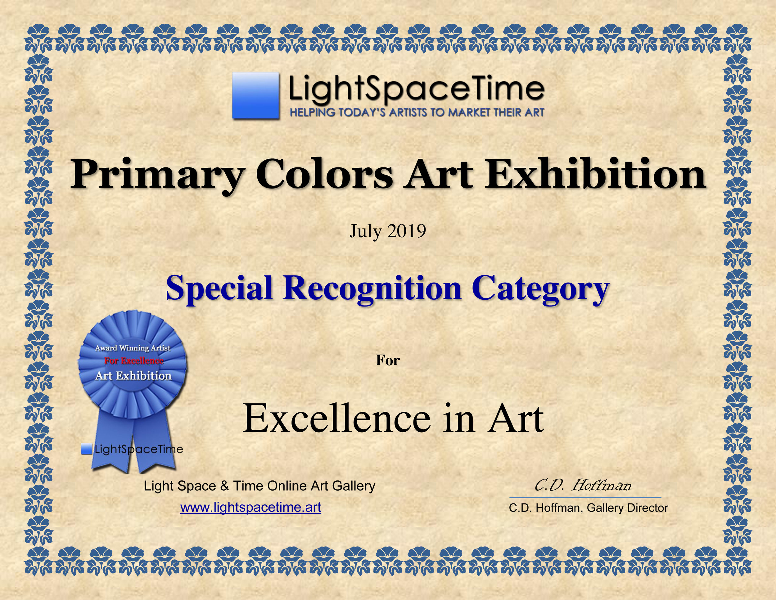 Special Recognition - Primary Colors 2019 Award Certificate
