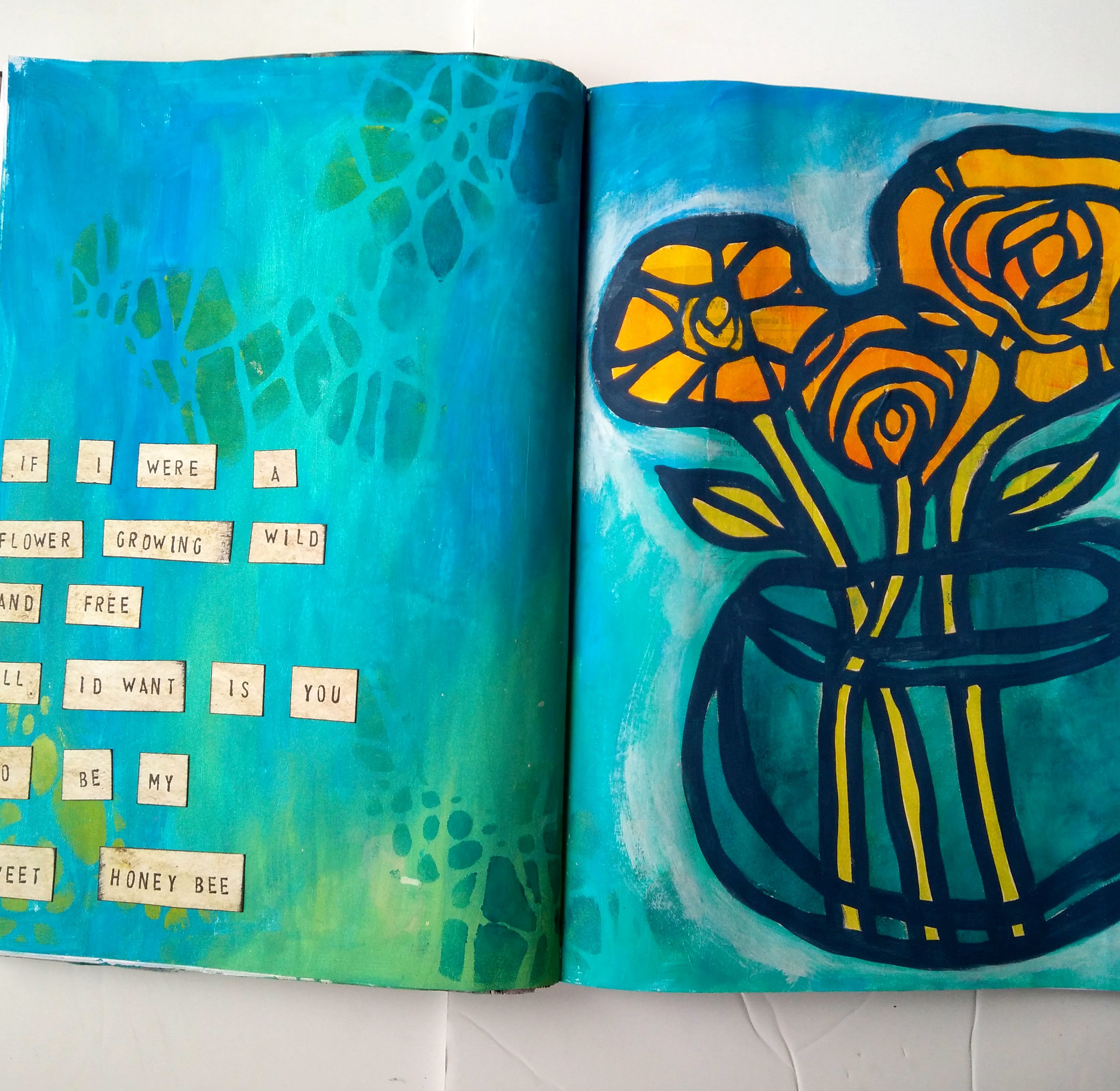 A mixed media Art Journal Page - Wild and Free is an Art Journal Spread made using Stencilgirl Stencils. I'm sharing a journal spread from the archives today with you. This page was made last year but I am still completely in love with this stencil from Suzi Dennis! Art Journal Ideas using lyrics are one of my favorite things to make! @karengaunt #mixedmedia #artjournal #artjournalideas #journalpages #mixedmediaideas