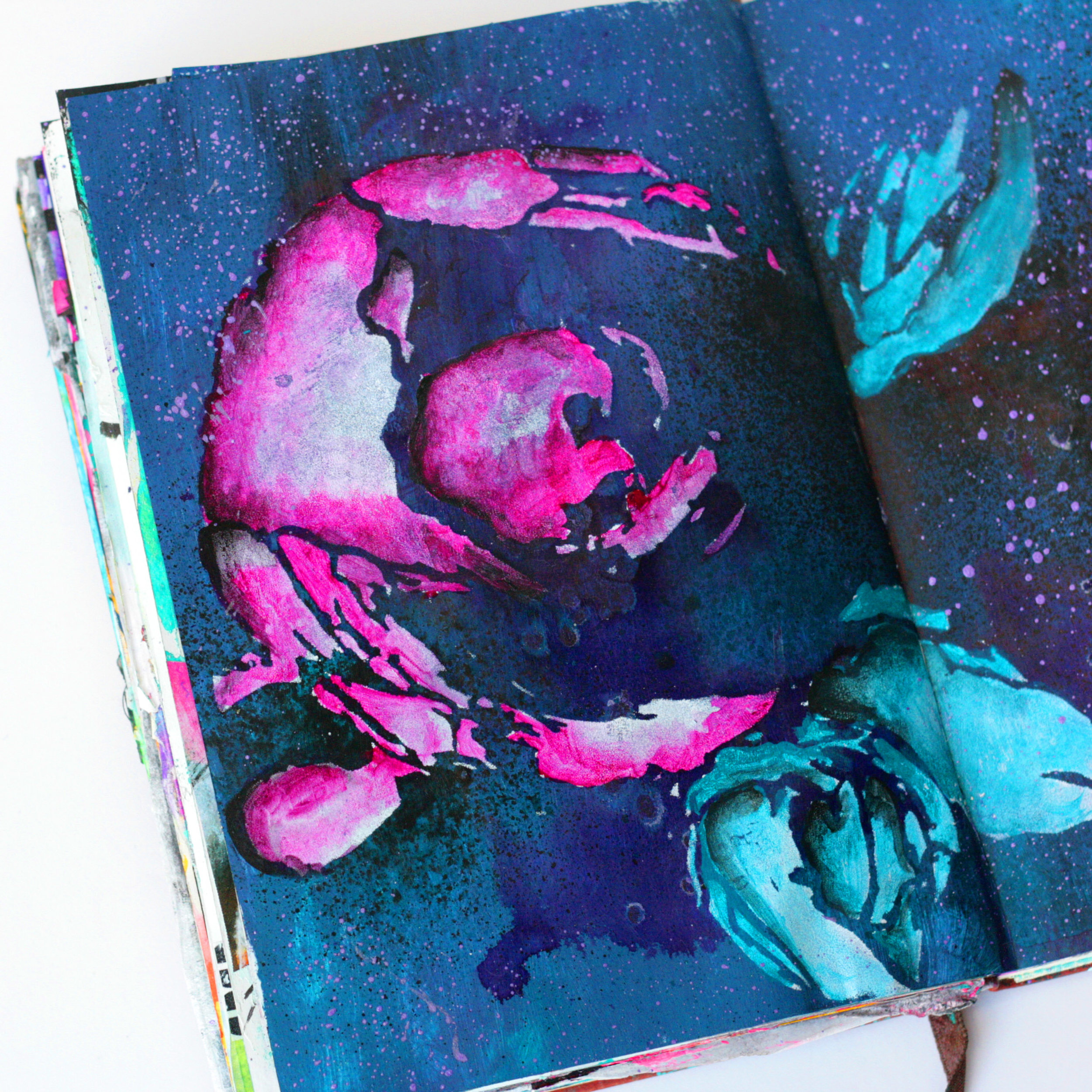 "I'm sharing a mixed media art journal today made using a stencil from Donna Downey designs. Watch my process video and stencil techniques on my ""Silently Thought"" art journal spread @kareng #mixedmedia #artjournal #journalprocess"