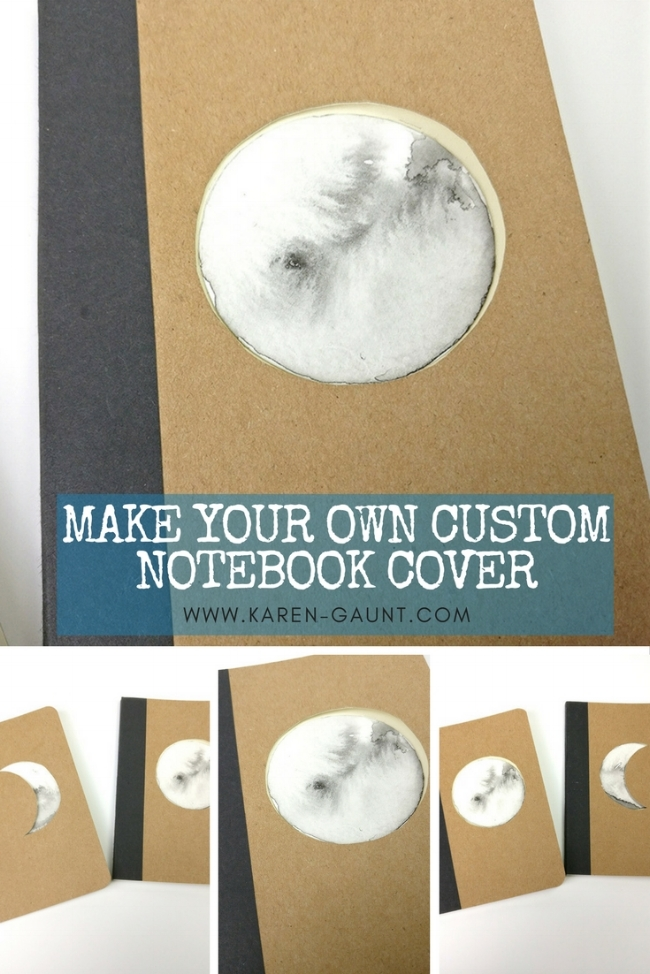 Make Your Own Custom Notebook Cover  I'm sharing some simple and easy gift tutorials that you can make and give away as gifts to your friends and family. I purchased these simple kraft paper notebooks in a set and by adding some simple alterations with these inky moons take them to the next level.