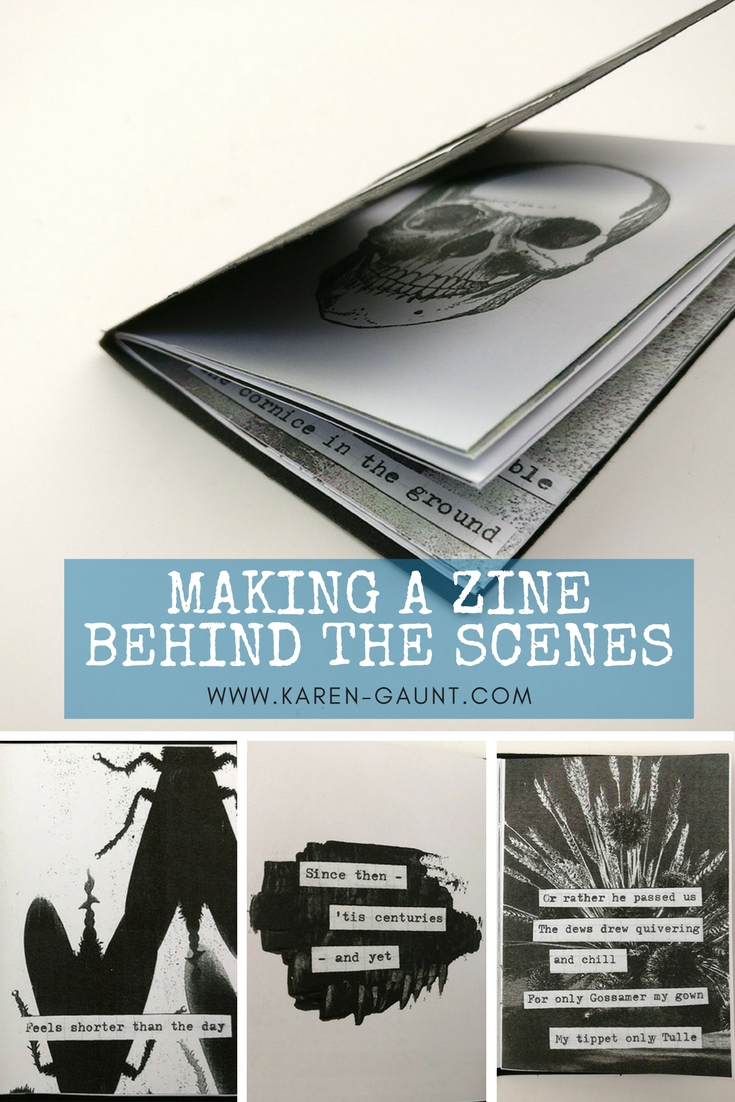 "Come and take a peak behind the scenes as I make my mixed media art zine. The Zine I created this time around is based around the poem ""Because I could not stop for Death"" by Emily Dickinson. There are so many elements that went into making this Zine I felt it really deserved it's own post. I'm sharing a behind the scenes video and a look at all the elements that go into making this zine so special."