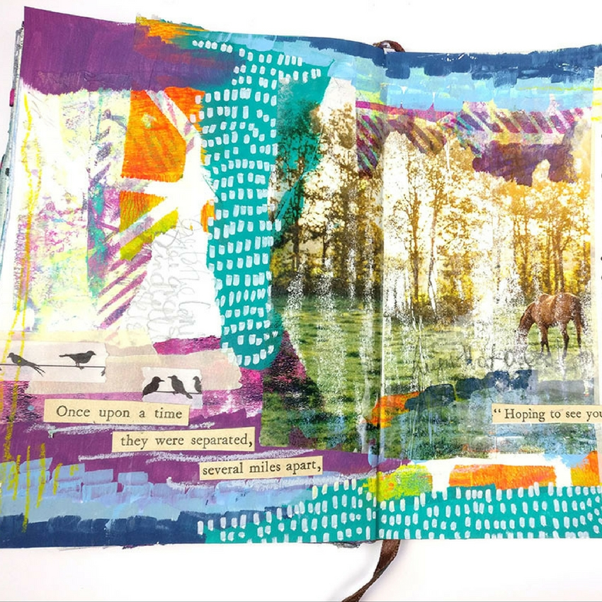 Image Transfer Collage - I'm sharing a mixed media art journal tutorial with you using packing tape to create an image transfer collage. I love to use image transfers in my art journal and working with packing tape is one of the easiest methods. Join me and I will show you how!