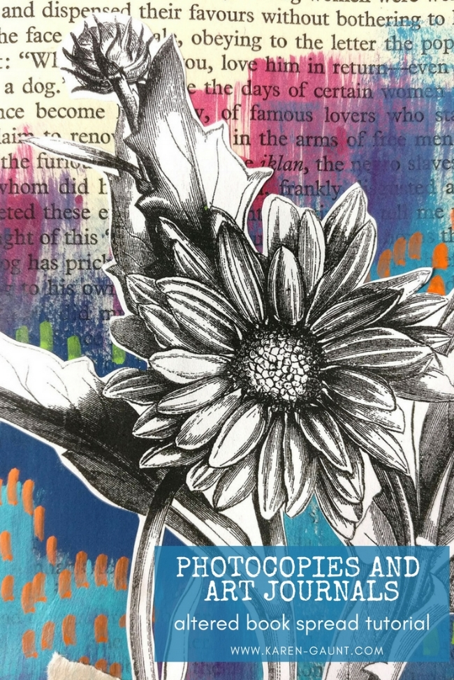 Photocopies and Art Journals - two of my favorite things to use together in this altered book spread that I am showing you today! Photocopies are a cheap and versatile supply that give you great mixed media layers!
