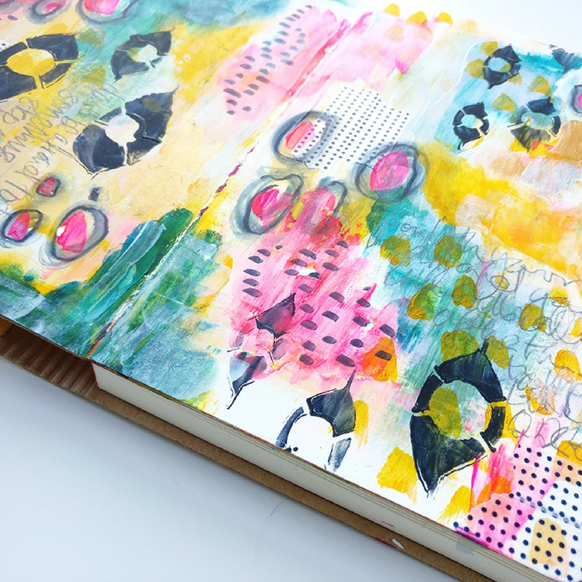 Journal with Me - join me as I create a mixed media art journal double page spread. Simple marks and painty layers combine to make this art journal tutorial easy to follow and inspiring!