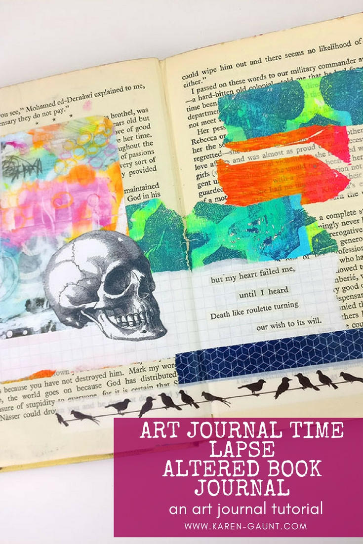 Art Journal Time Lapse   Altered Book Art Journal  I wanted to share this time lapse video today with you while I worked in my Altered Book Art Journal. I didn't feel like getting the paint out as sometimes it's just too much like hard work! Luckily I always have a large stash of gelli printed tissue paper and some Art Pop cards from Roben-Marie Smith came in very handy. Oh and the skull, always the skull!