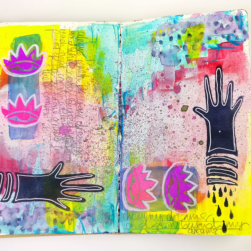 Mixed Media Stencils  Join me for an art journal tutorial using Stencilgirl Stencils and products from Lindy's Stamp Gang! I'm creating a journal page using Roxanne Coble's stencils but using some really bold and bright colours instead. I had a lot of fun getting into some old skool embossing and doodling in lot's of details.