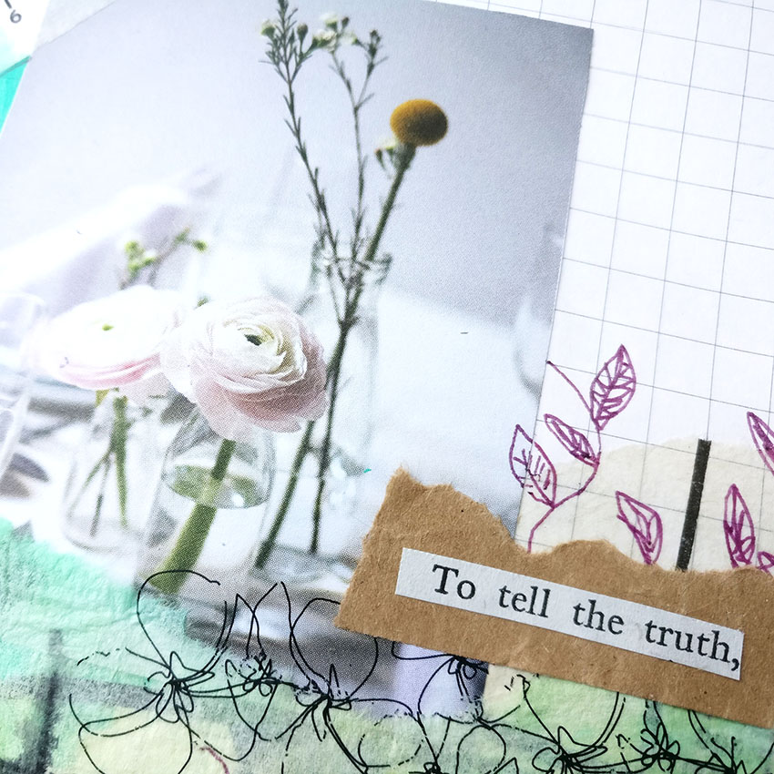 Art Journal Page Collage With Magazine Cutouts Cut and paste in your art journal with me as we add in all of the bits of mixed media supplies that we all have lying around our desk! Create a perfectly imperfect junk collage with a great focal point.