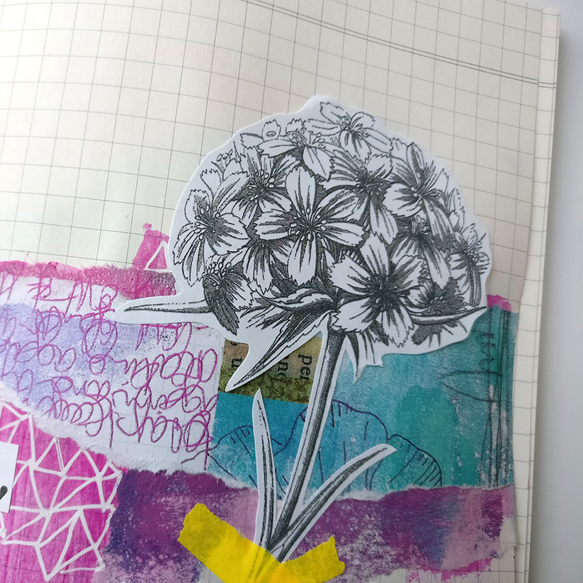 Working inside an altered composition notebook had really pushed me to think outside the box when creating. I was stuck in my own head when it came to creating. I found shaking things up with this little notebook has really helped get me out of that creative rut.