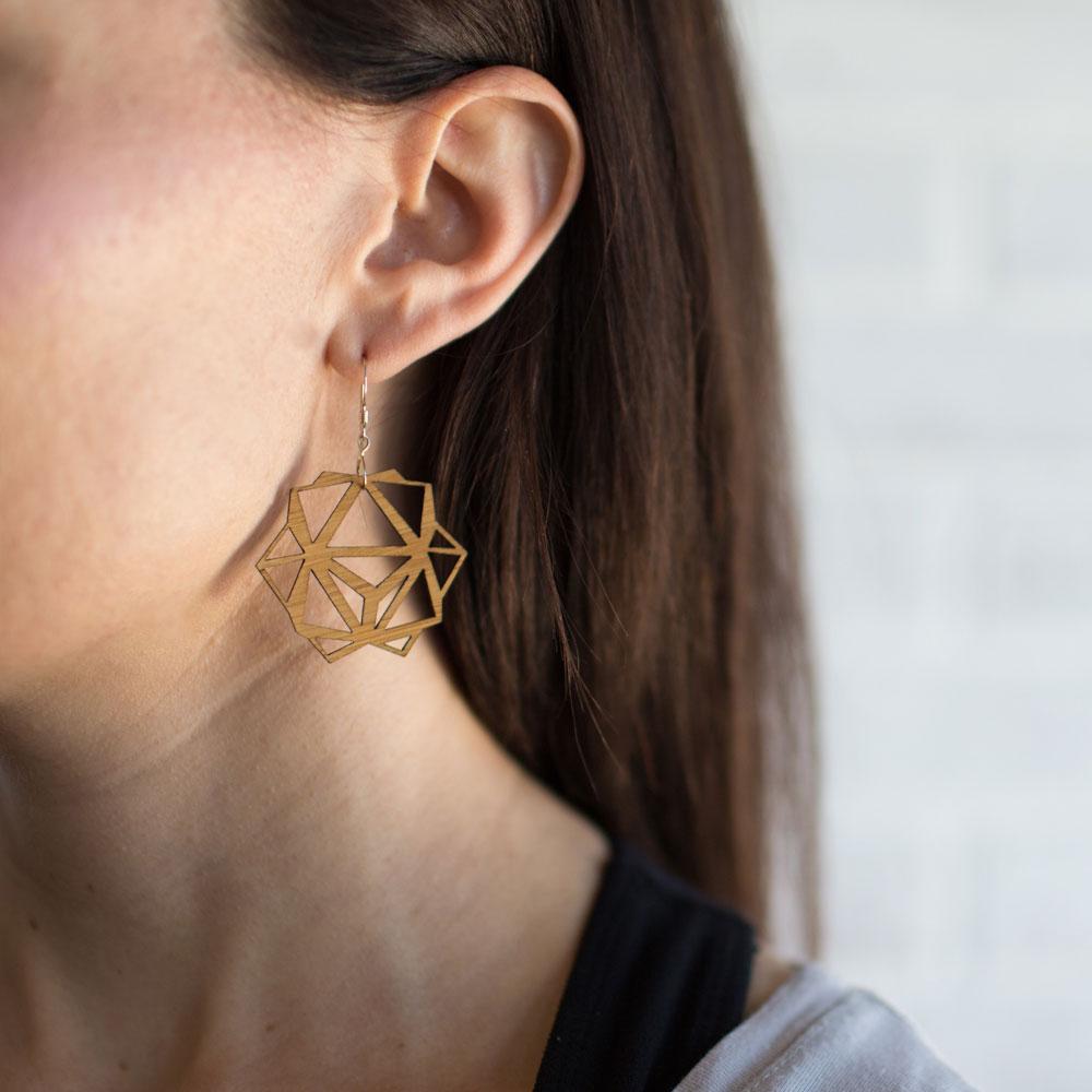 Bamboo Laser Cut Geoemtric Earrings
