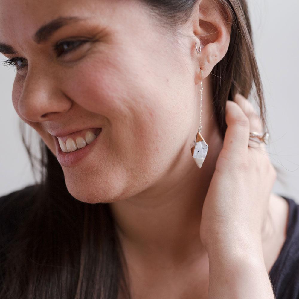 White Origami Paper Diamond Earrings