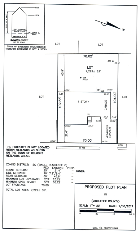 Example of a plot plan required for a building permit application. The owners were hoping to slightly enlarge a small set of stairs at the rear of the home, but a detailed survey of the property revealed that even a this slight modification would be not be allow by right and would require a zoning special permit approval. -