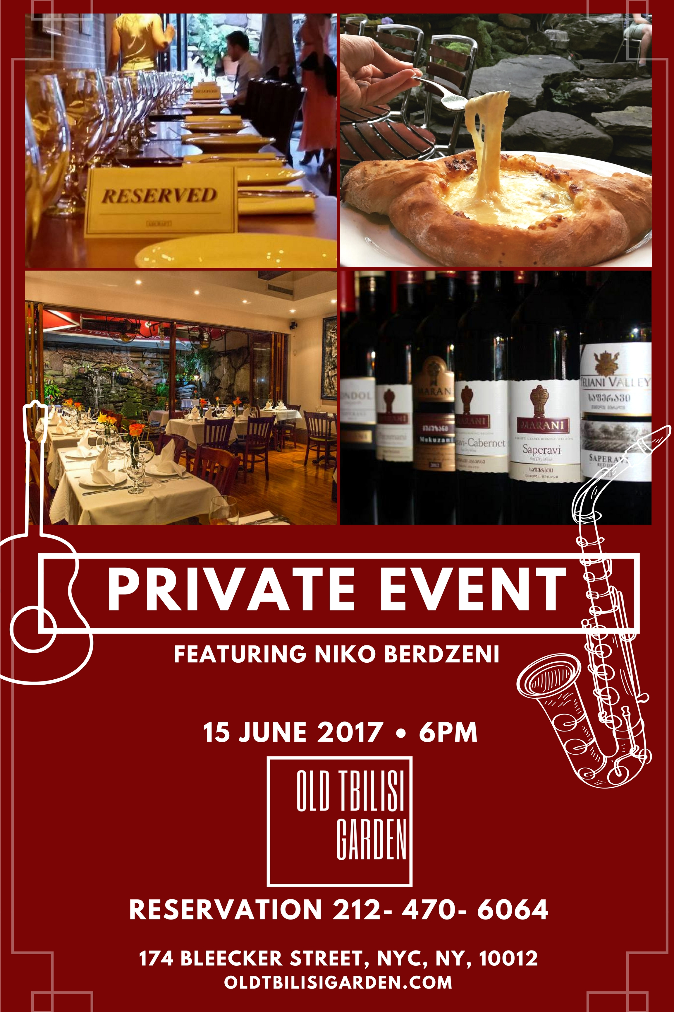 Pirvate Event Feat. Niko Berdzeni (06/15/2017) - Call (212) 470-6064 during the business hours for reservation.Come join us for a great a Georgian Feast on 06/15 Thursday! Starting at 6pm! This is a Reservation only event! LIMITED SEATS! Admission is FREE while dinning at the restaurant.This will be a celebration night! One Time Only.Featuring Niko Berdzeni and his friends (Adam Klipple, Alistair Sim and Dylan Hicks)