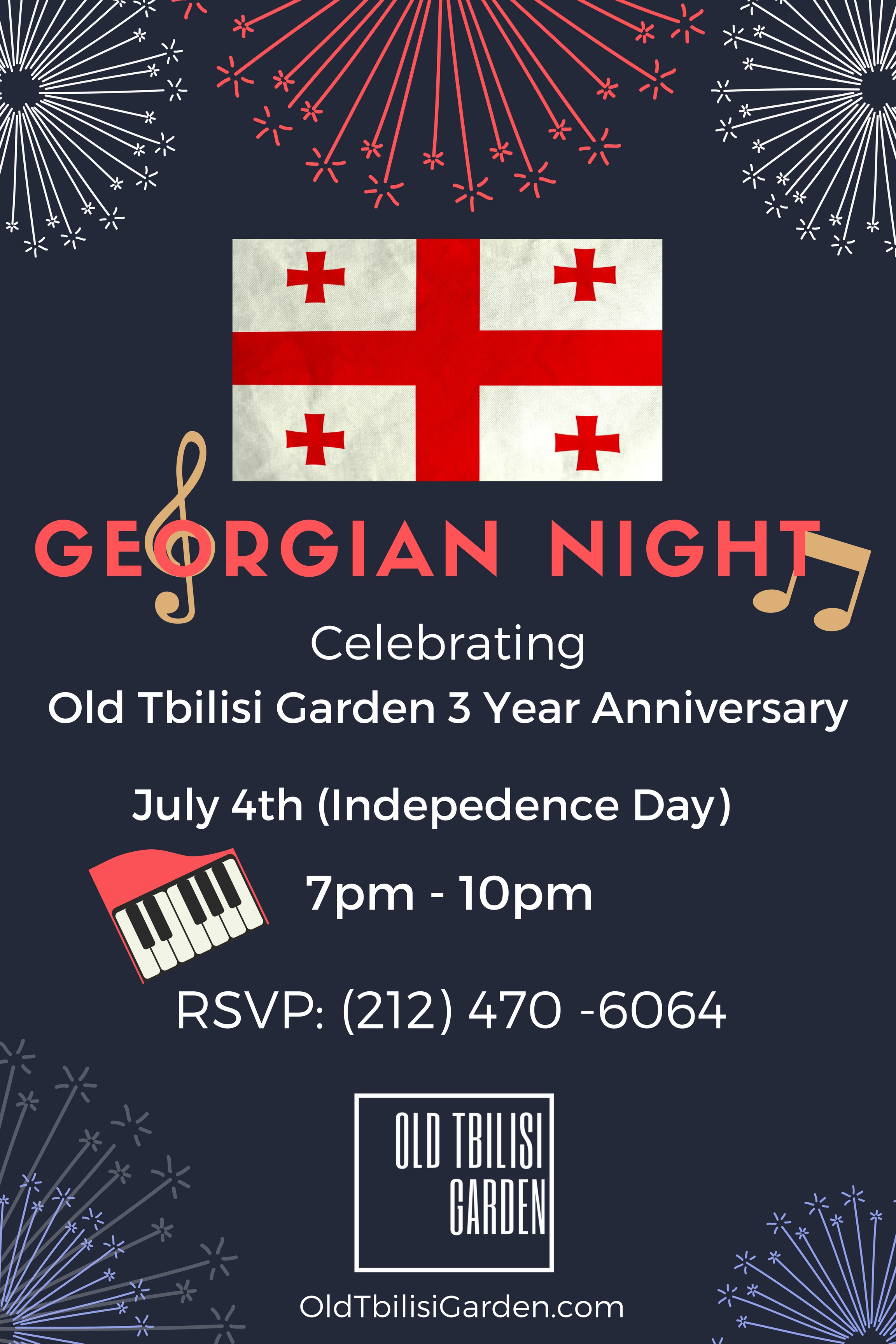 Georgian Night (07/04/2017) 7pm-10pm - Old Tbilisi Garden is three year-old on the day of July 4th Indepence day! We celebrate with amazing Georgian House band with great Georgian food.Thanks for everyone who joins us for this amazing night.