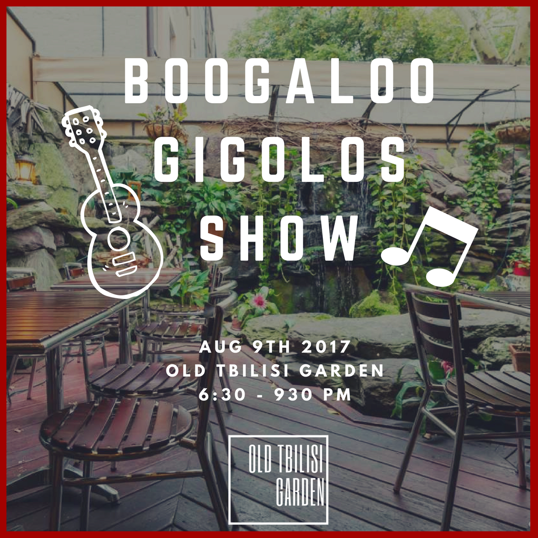 Boogaloo Gigolos Show (08.09.2017) - Come join us for a great night with Niko Berdzeni's band -Boogaloo Gigolos! Jazz and funky music with authentic Georgian food & wine! LIMITED SEATS! Admission is FREE while dinning at the restaurant.Band Memebrs:Niko Berdzeni - SaxAlistair Sim - GuitarIan Macdonald - OrganBrian Floody - DrumsCall (212) 470-6064 or Facebook Message us for reservation.
