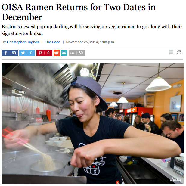 Oisa Ramen Returns for Two Dates in December