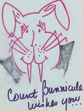 My birthday-card drawing of Bunnicula.