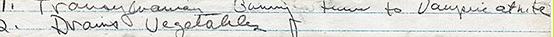 "The handwritten words ""Transylvanian bunny turns to vampire at nite."""