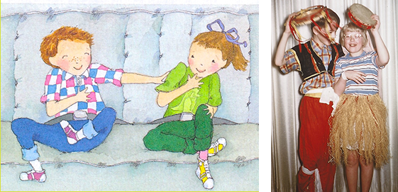 Pinky and Rex illustrations paired with photo of Bobbie and me.