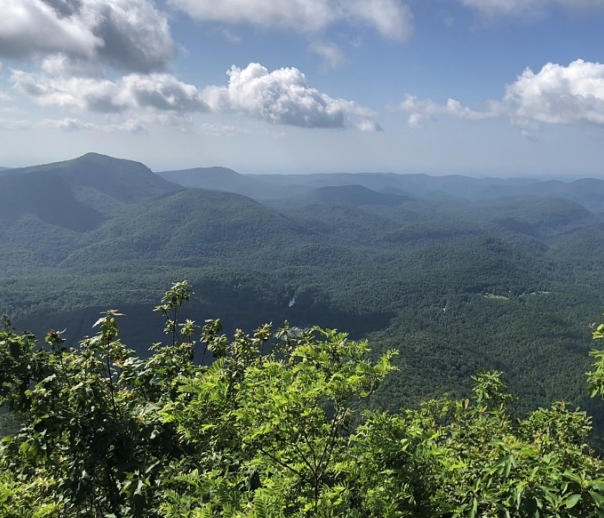 The view from the  Whiteside Mountain Trail  high in the hills of North Carolina.
